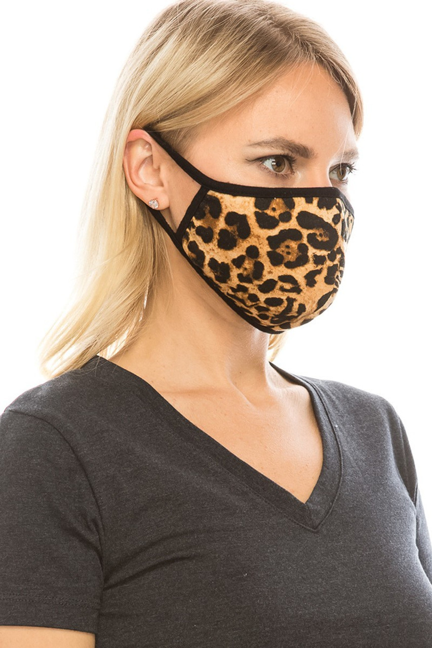 Mid view of leopard print Fashion Face Mask.