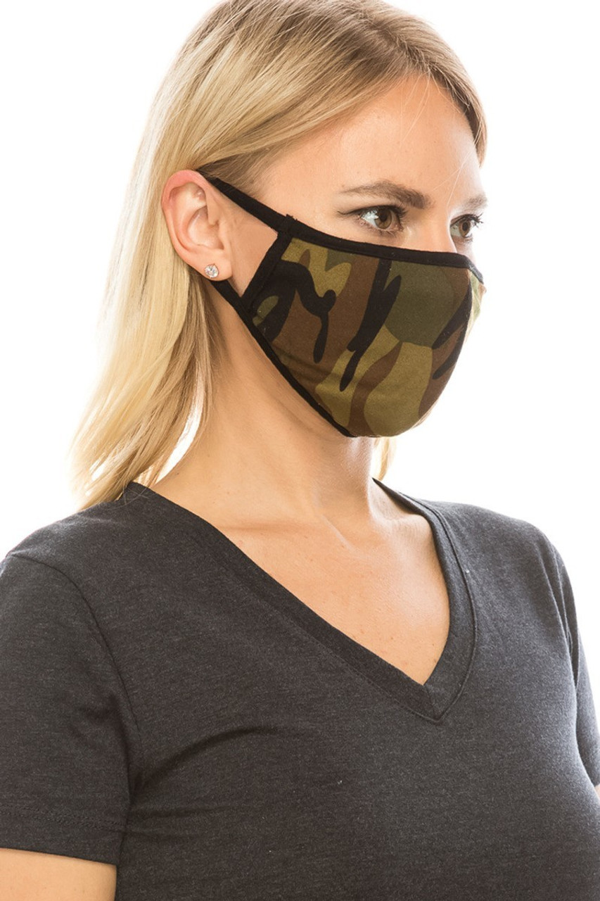 Mid view of olive camouflage print Fashion Face Mask.