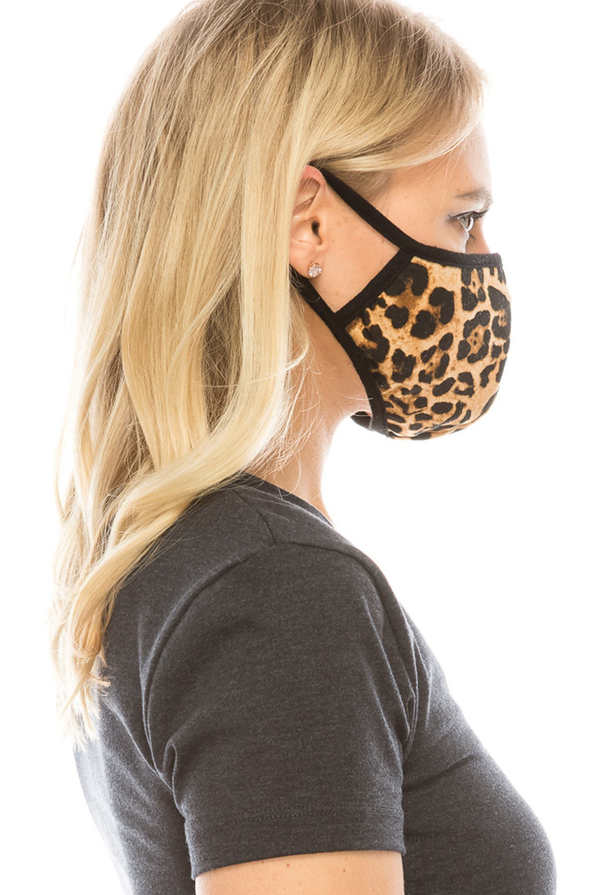 Side view of leopard print Fashion Face Mask.
