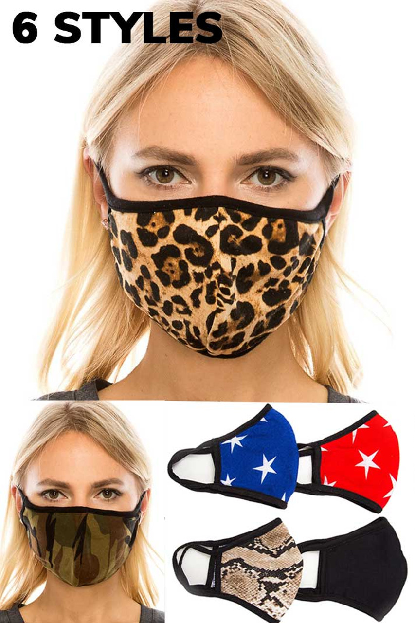 Our two Layer Polyester Cotton Fashion Face mask comes in six trendy prints; leopard , camouflage, white stars on a blue background, white stars on a red background, snakeskin, and solid black.