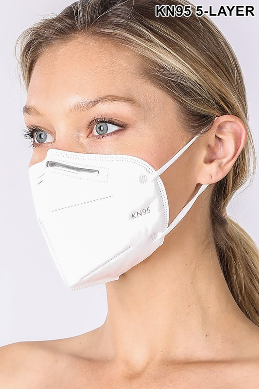Left side view of 5 Layer Oral Filtration Face Masks - Individually Wrapped