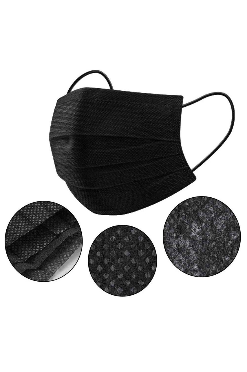 Black 3 Ply Disposable Face Masks - 50 Pack