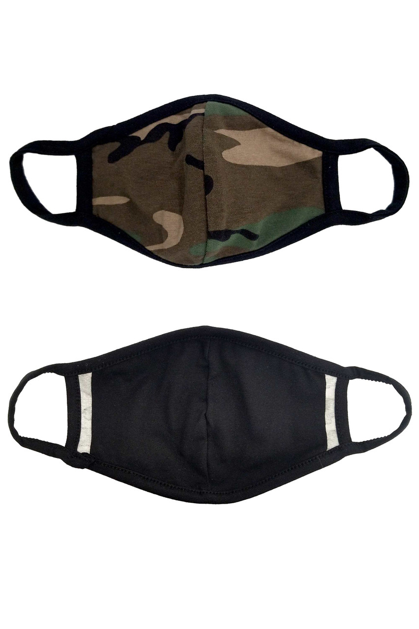 Kid's Camouflage Face Mask with camo print outer layer and a black inner layer with a PM2.5 filter pocket.