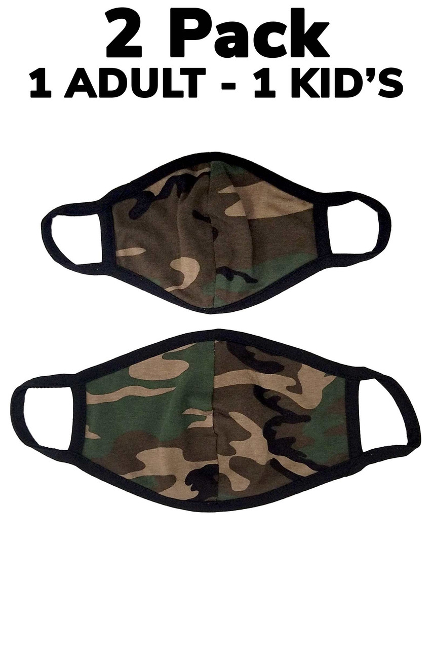A two pack of made in the USA green camouflage print masks that includes one adult and one kid's size.