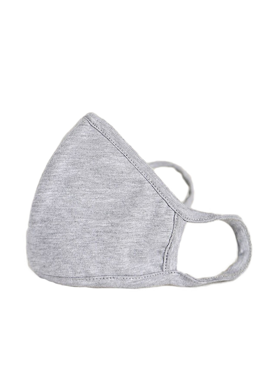 Gray Kid's Solid Cotton Face Masks - Made in USA