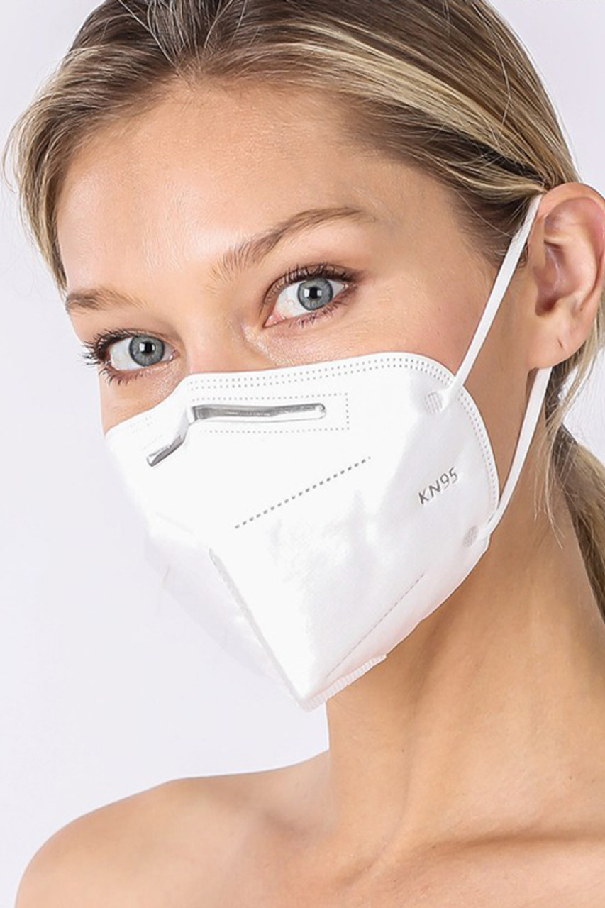 White KN95 Oral Air Filtration Face Mask.