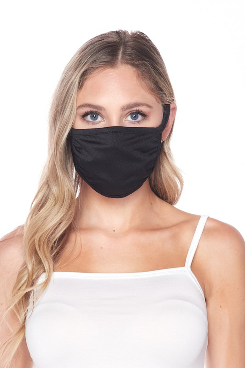 Front facing view of USA made black Solid Tricot Smooth Textured Face Mask  with a mild sheen.