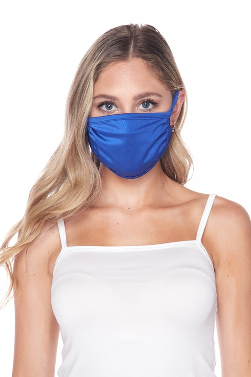 Front facing view of USA made blue Solid Tricot Smooth Textured Face Mask  with a mild sheen.