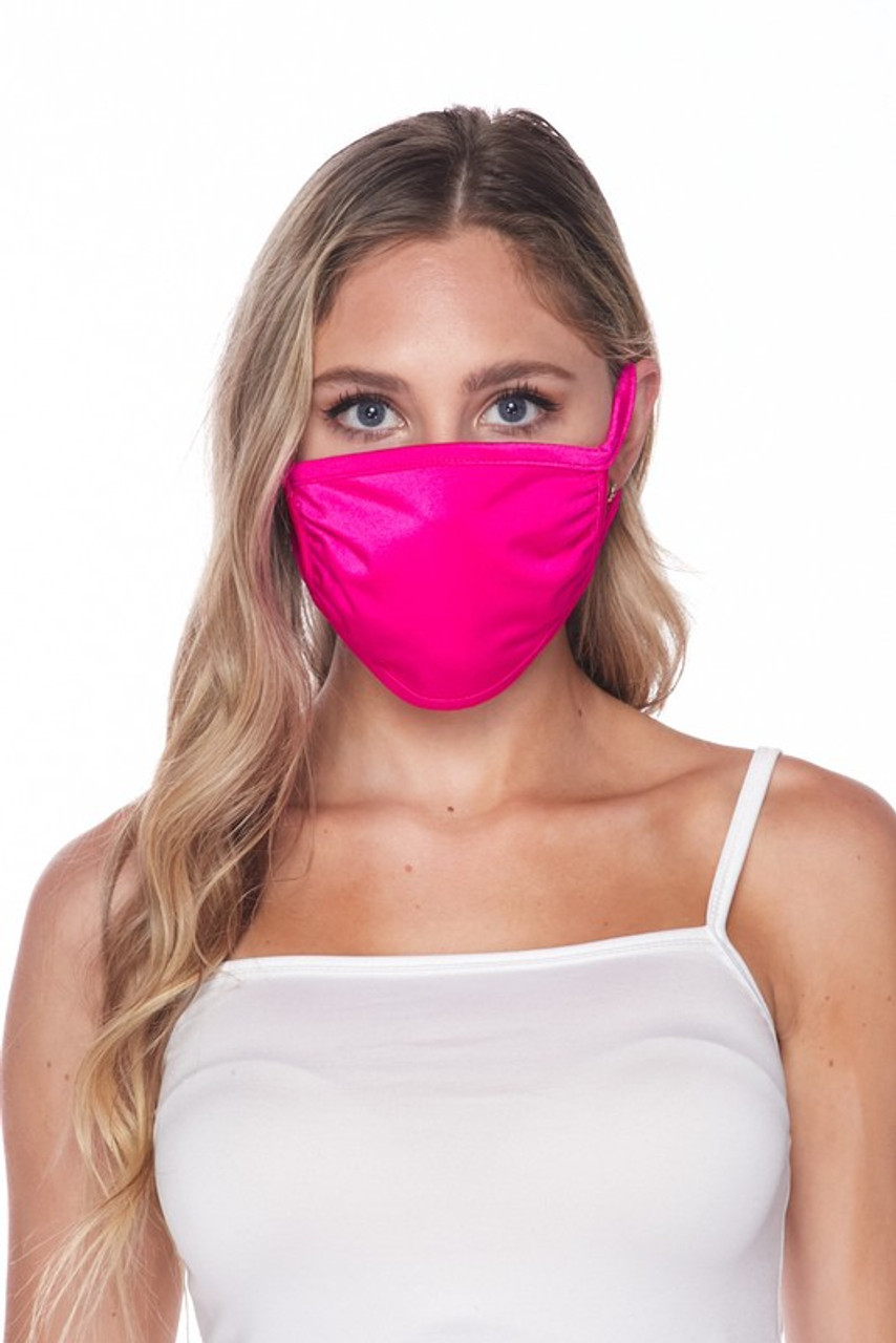 Front facing view of USA made fuchsia Solid Tricot Smooth Textured Face Mask  with a mild sheen.