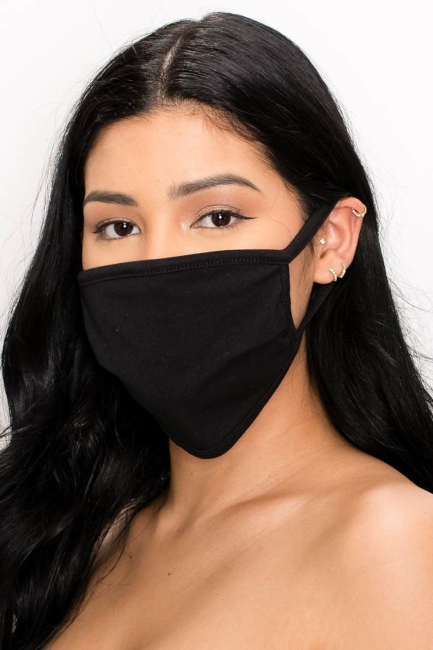 Comfortable black two-ply fabric face mask.