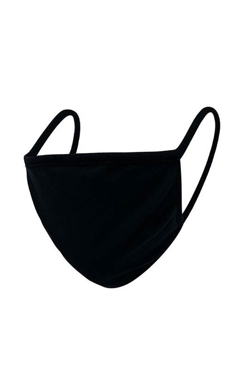 Black fabric face mask with earloop fit.