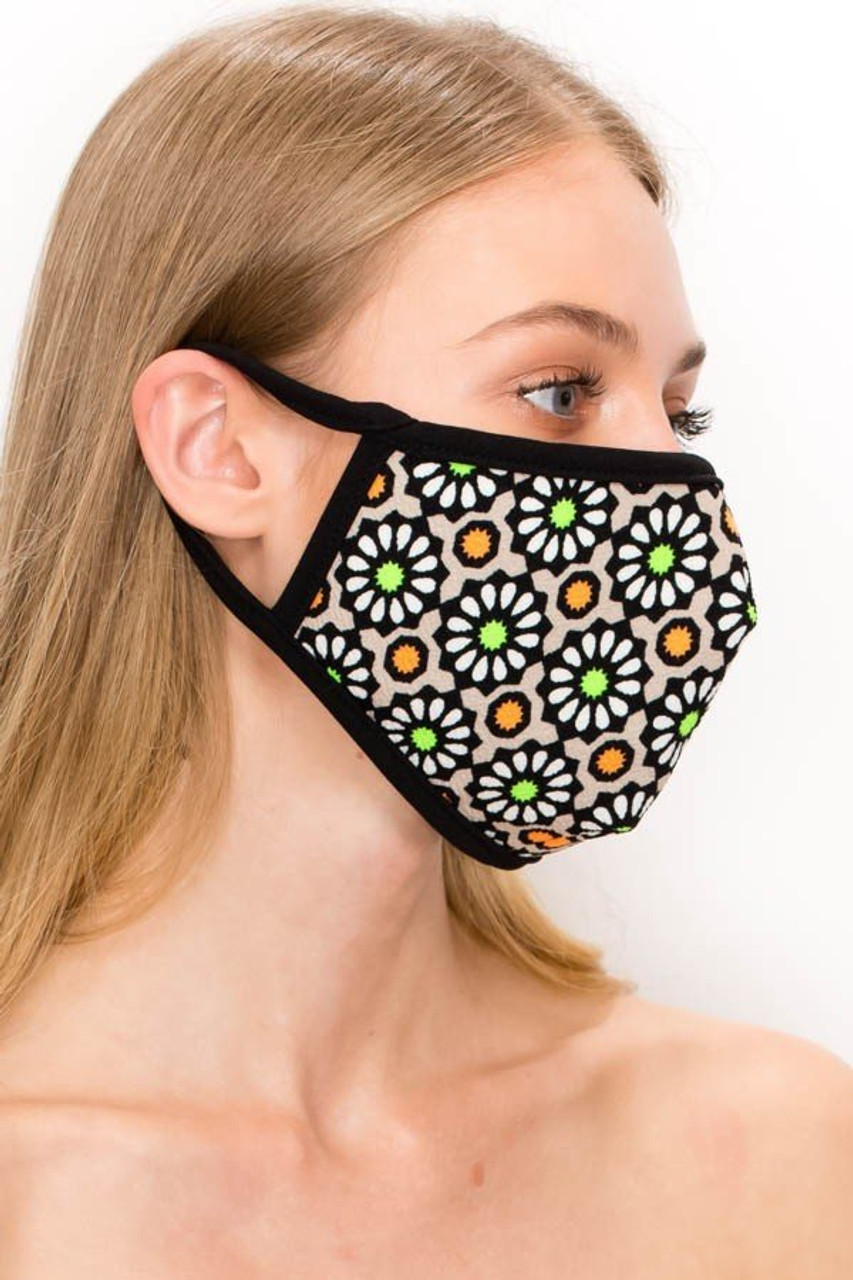 Right side view of our Unisex Groovy Floral Face Mask - Made in USA in mocha, showing elastic looped ear supports.