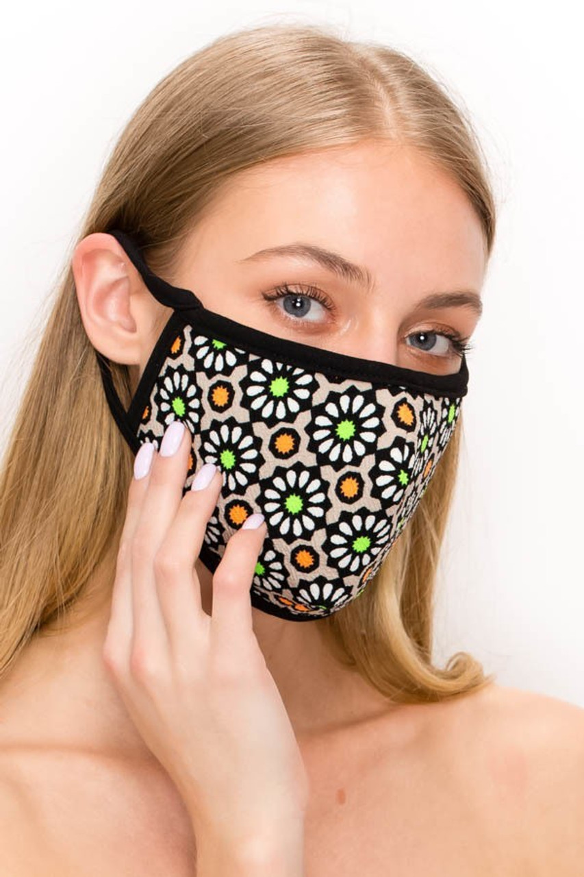 Partial front angled right view of mocha Unisex Groovy Floral Face Mask - Made in USA