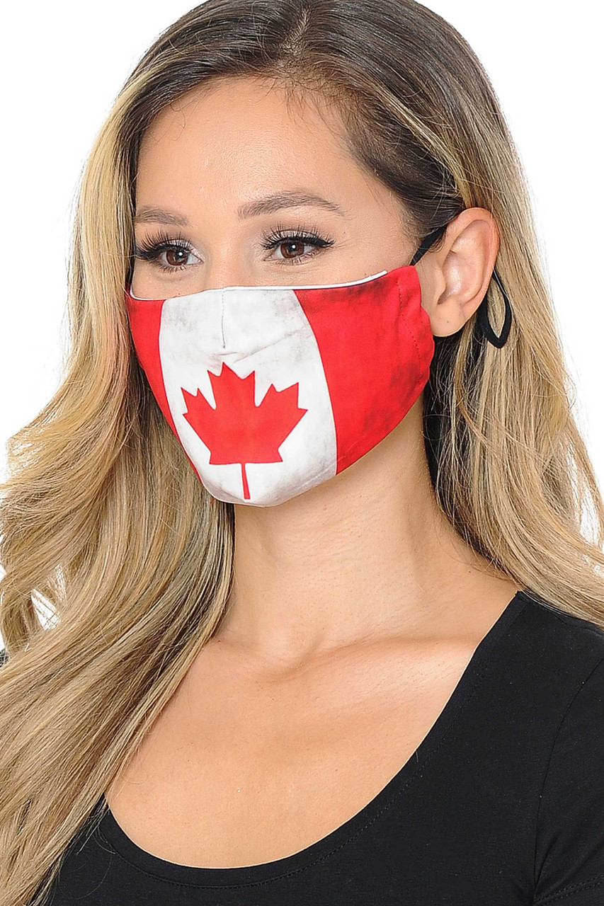 Partial front/right side view image of  Canadian Flag Graphic Print Face Mask