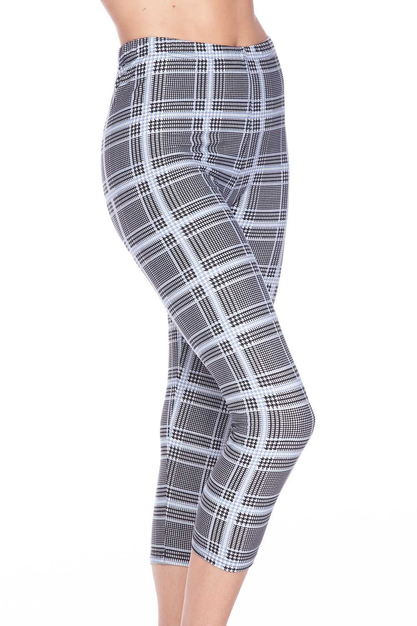 Left side view image of neutral colored Buttery Soft Baby Blue Glen Plaid Capris