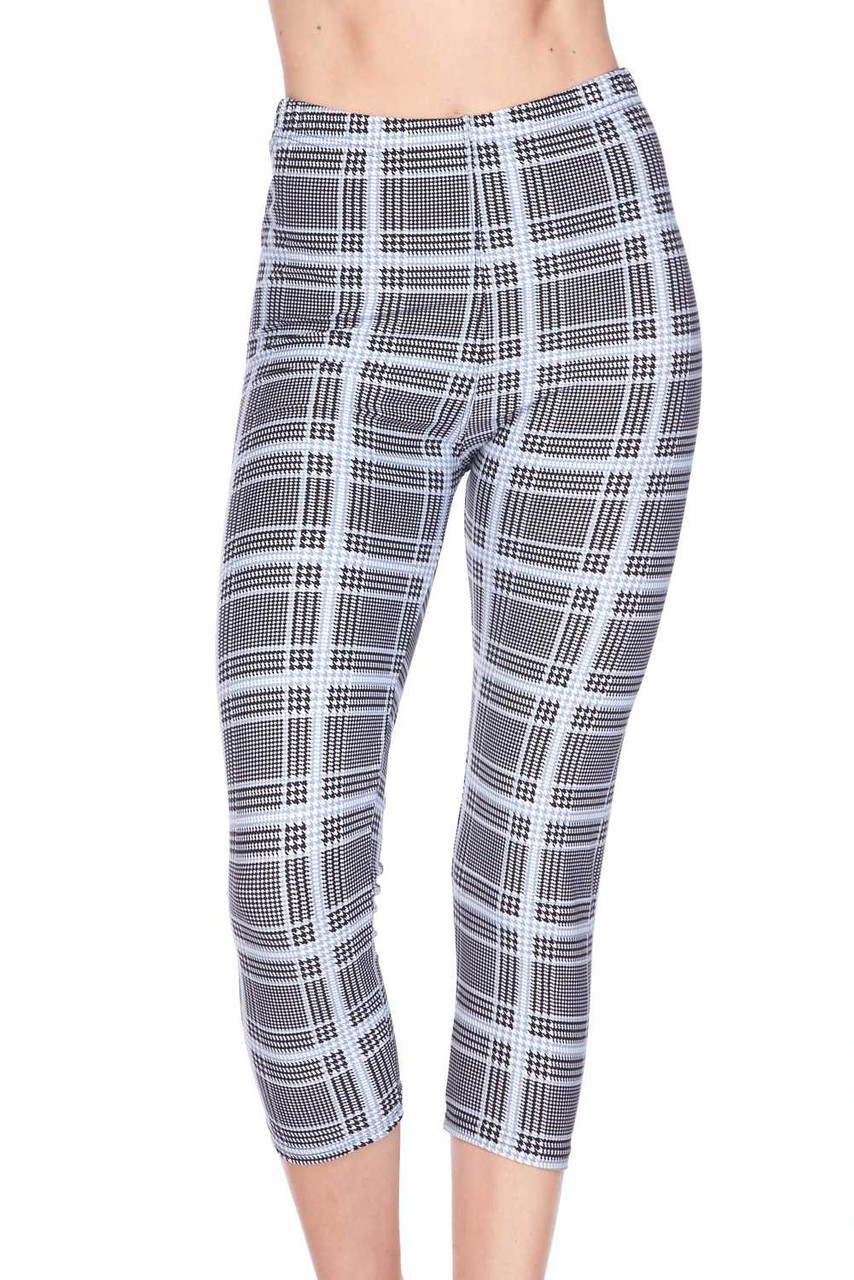 Front view image of Buttery Soft Baby Blue Glen Plaid Capris, featuring a neutral color scheme that pairs with a top of any color.
