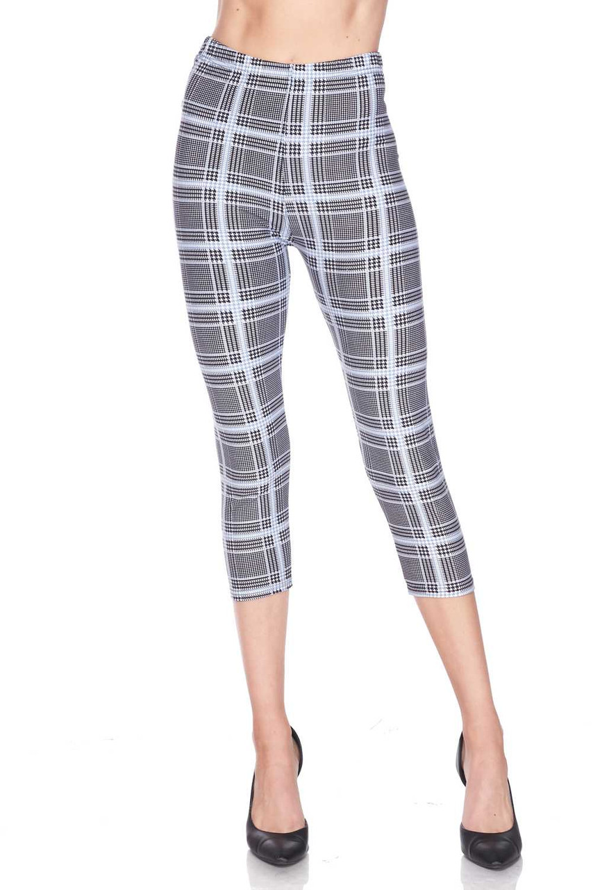 Half body image view of Buttery Soft Baby Blue Glen Plaid Capris featuring a comfort fabric waist.