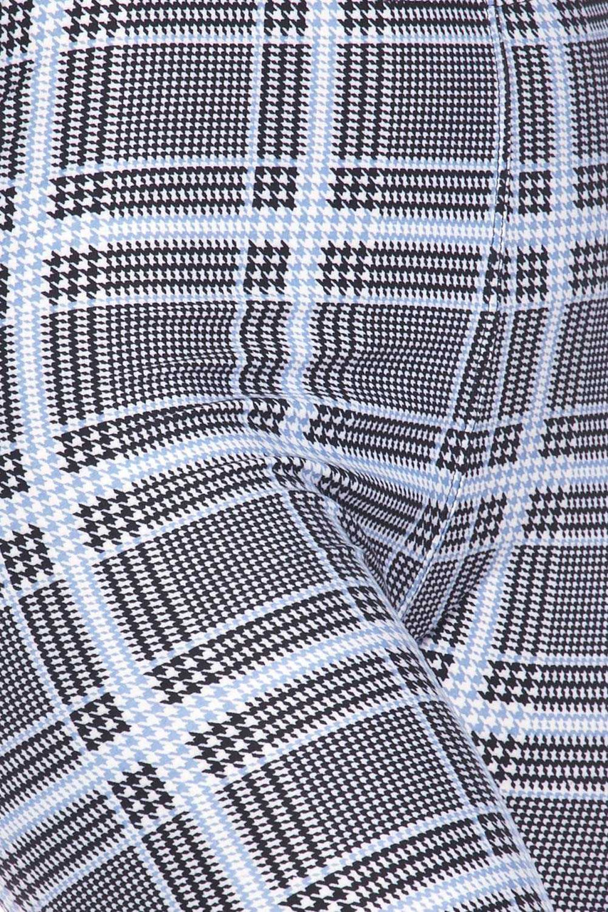 Close up image swatch of Buttery Soft Baby Blue Glen Plaid Capris