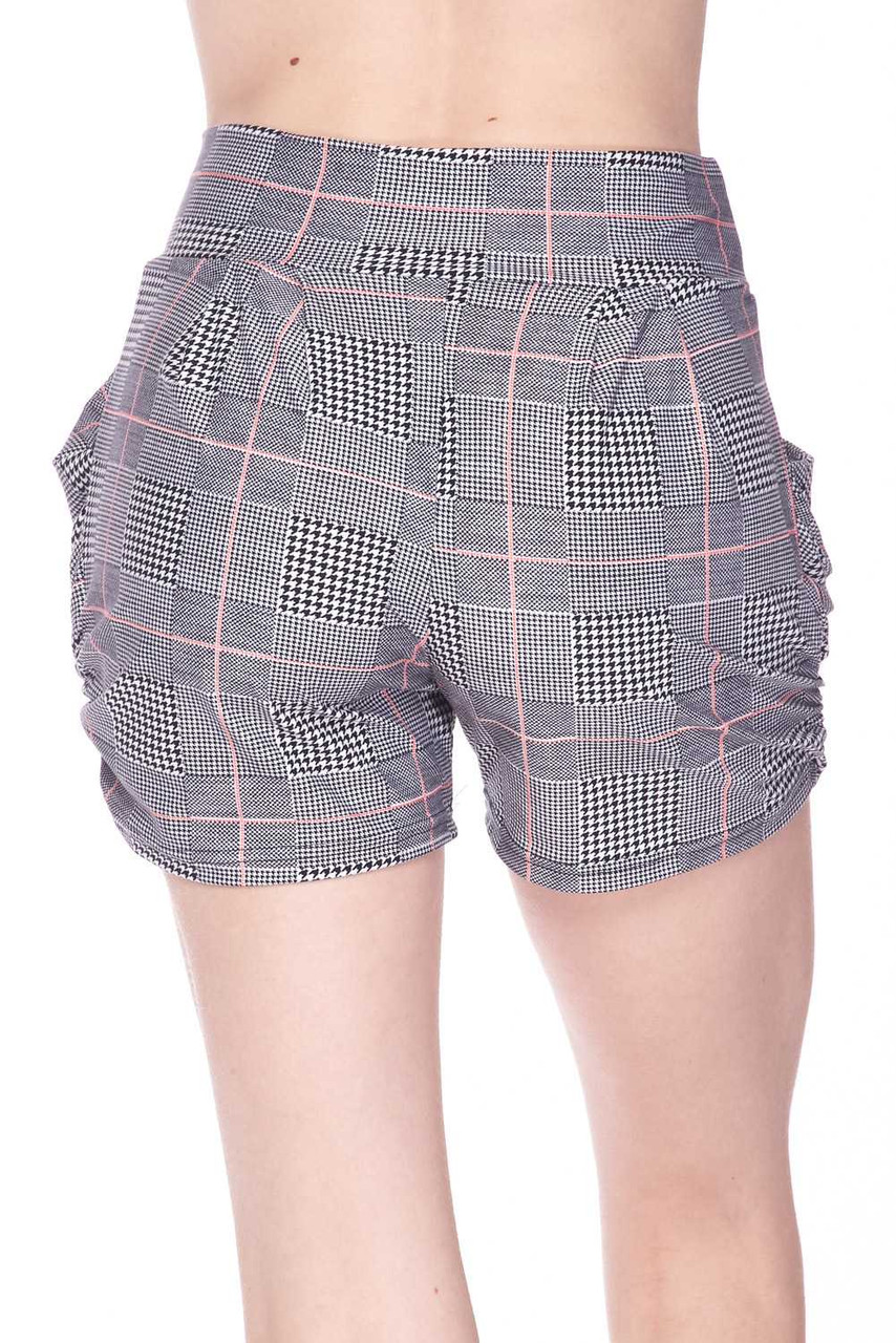 Back view of Buttery Soft Coral Accent Textured Houndstooth Harem Plus Size Shorts with a more relaxed fit.