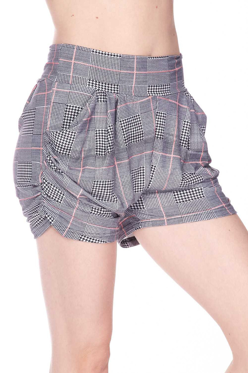 Right side image view image of Buttery Soft Coral Accent Textured Houndstooth Harem Plus Size Shorts, featuring a neutral color scheme that pairs with a top of any color.