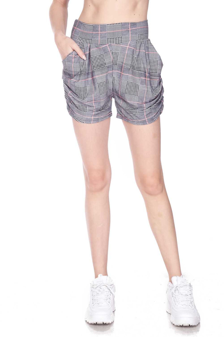 Half body image view of Buttery Soft Coral Accent Textured Houndstooth Harem Plus Size Shorts featuring a comfort fabric waist.