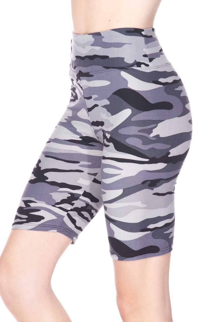 Partial front/right side view of Buttery Soft Charcoal Camouflage Plus Size Biker Shorts - 3 Inch Waist Band featuring a monochromatic gray toned army print design.