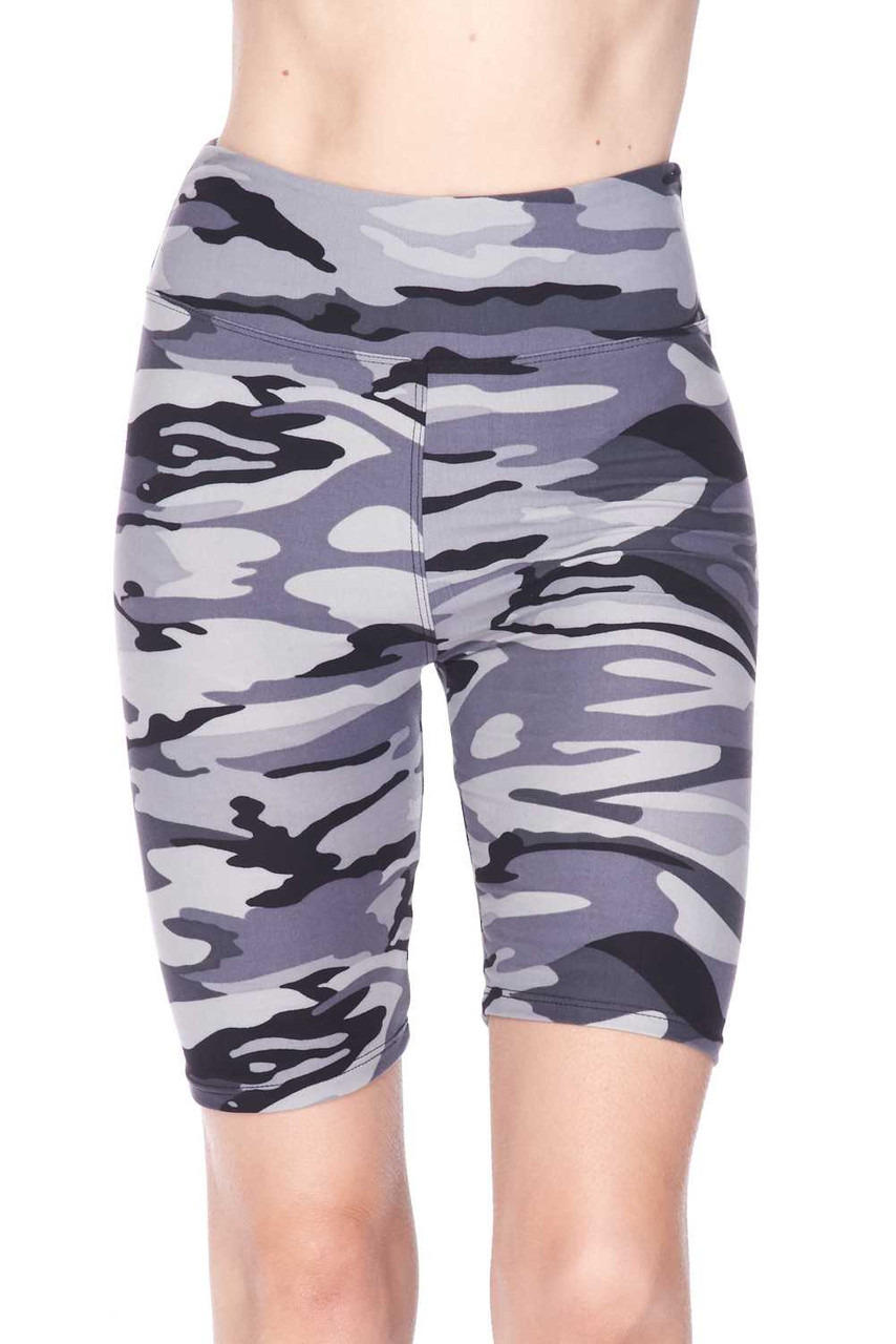 Front view image of our Buttery Soft Charcoal Camouflage Plus Size Biker Shorts featuring a neutral color scheme that pairs with a top of any color.