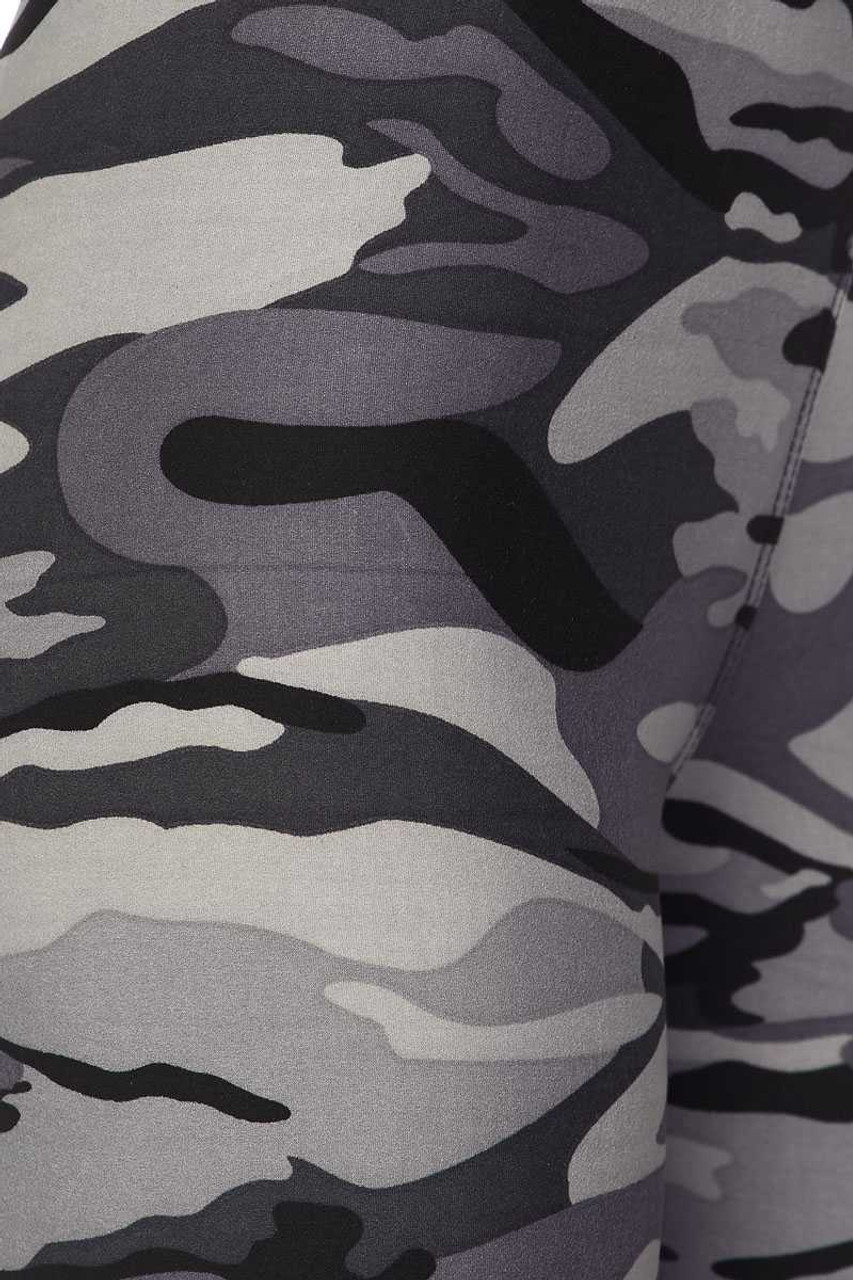 Close up image swatch of Buttery Soft Charcoal Camouflage Plus Size Biker Shorts - 3 Inch Waist Band