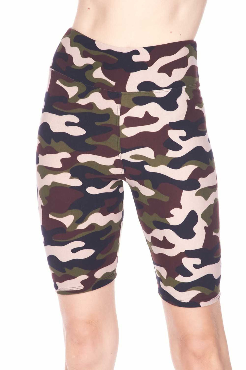 Front view image of our Buttery Soft Flirty Camouflage High Waist Capris - 3  Inch featuring a mixed brown and olive color scheme.