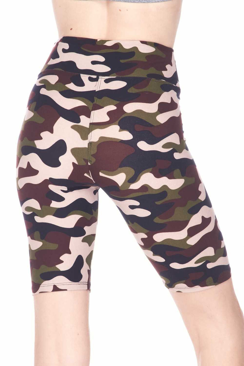 Back view image of mid thigh length Buttery Soft Flirty Camouflage Biker Shorts - 3 Inch Waist Band with a classic army print design.
