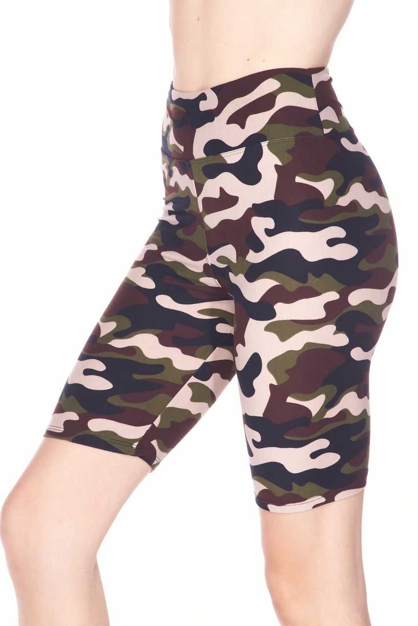 Left side view image of Buttery Soft Flirty Camouflage Biker Shorts - 3 Inch Waist Band