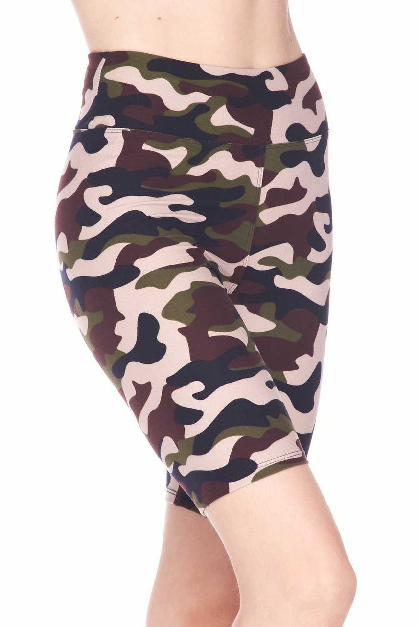 Right side/partial front view image of Buttery Soft Flirty Camouflage Biker Shorts with a comfort fabric waistband.