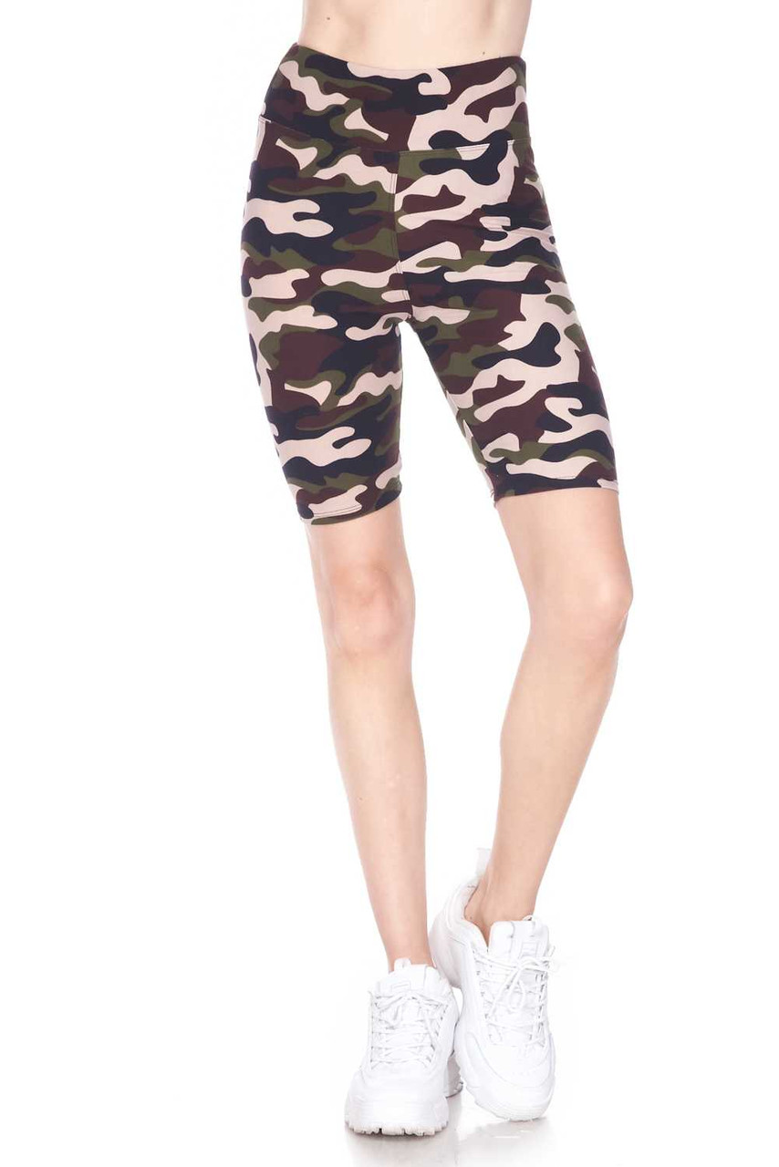 Half body view image of Buttery Soft Flirty Camouflage Biker Shorts - 3 Inch Waist Band with a body hugging fit.