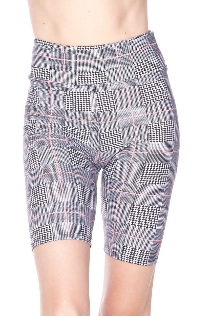 Front view image of Buttery Soft Coral Accent Glenn Plaid Biker Shorts - 3 Inch Waist Band, featuring a neutral color scheme that pairs with a top of any color.