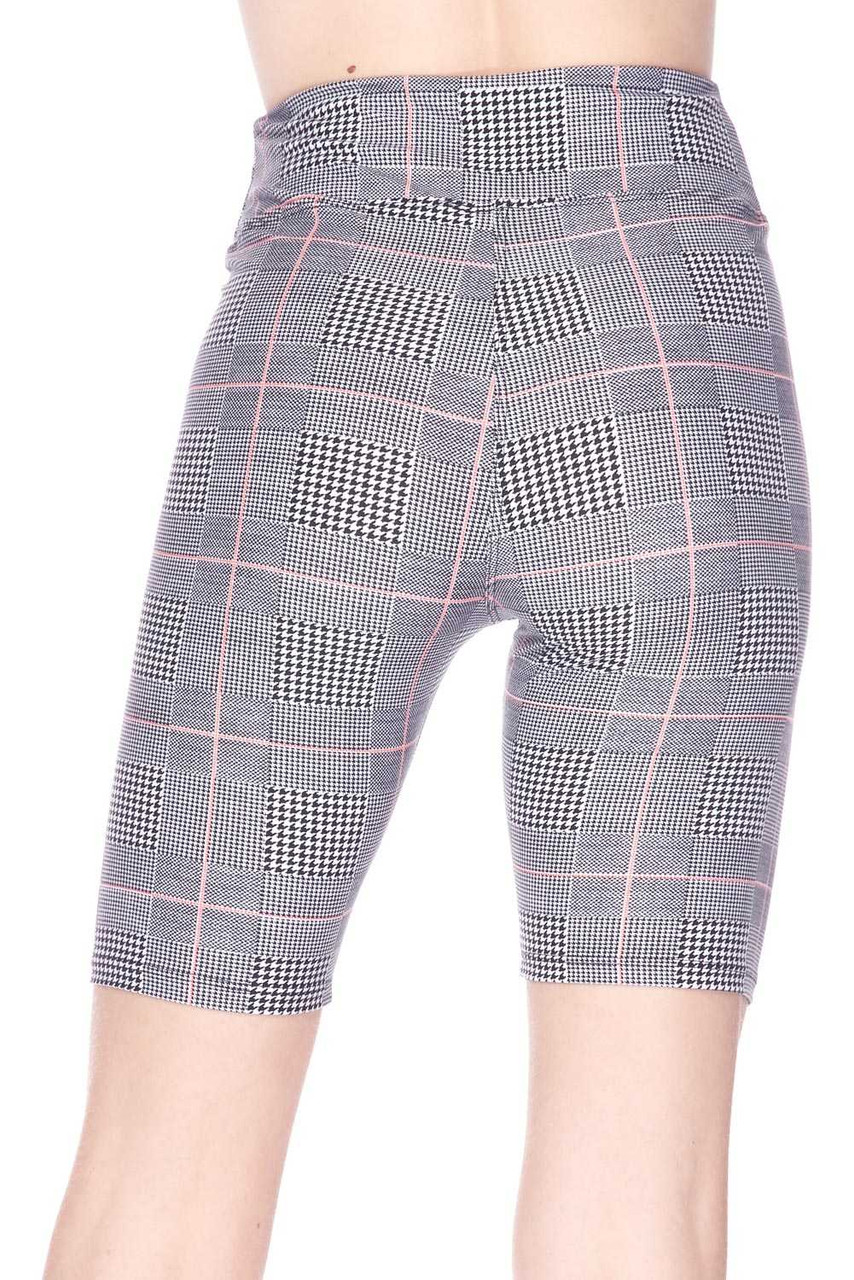 Back view of body hugging Buttery Soft Coral Accent Glenn Plaid Biker Shorts - 3 Inch Waist Band