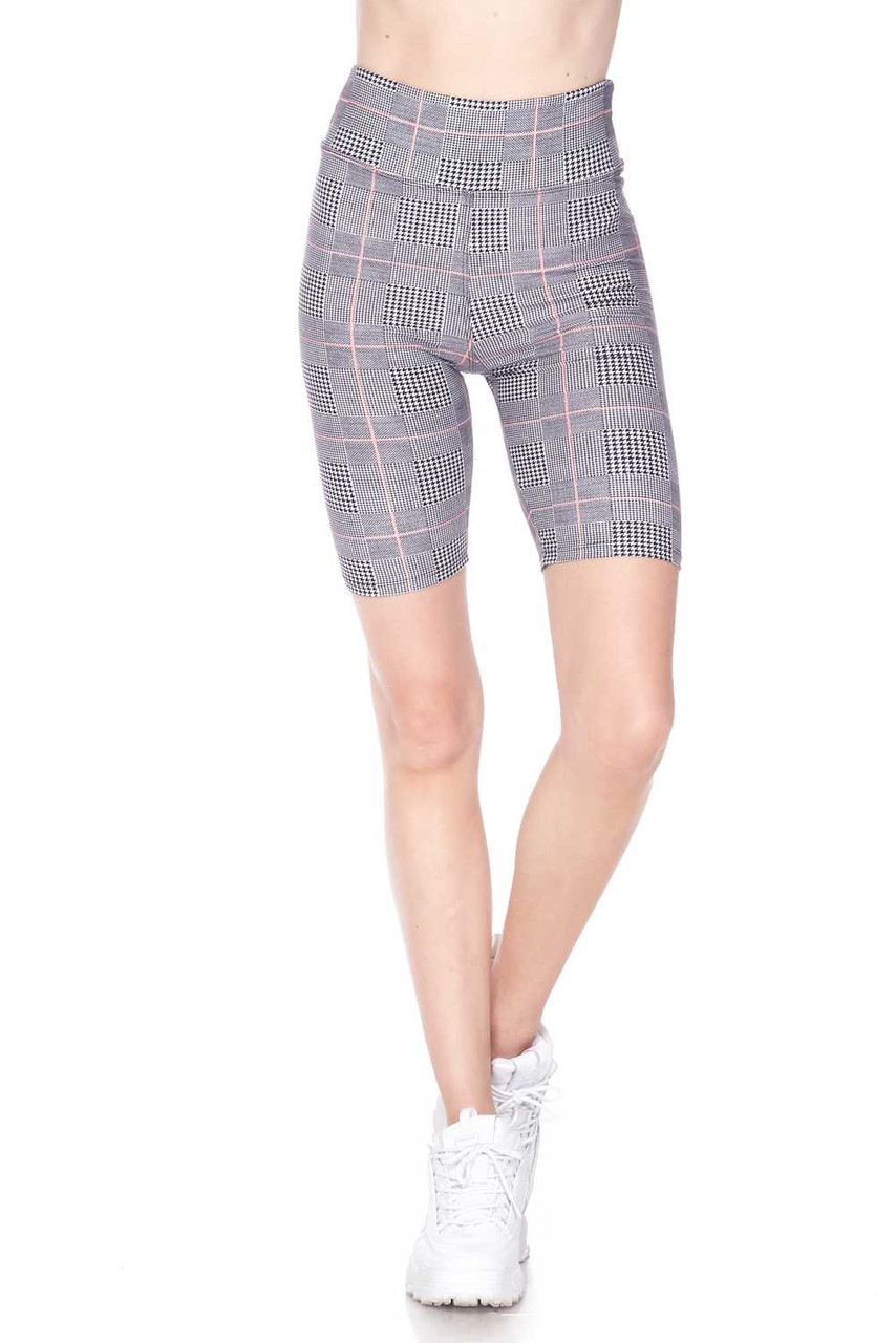 Half body image view of Buttery Soft Coral Accent Glenn Plaid Biker Shorts featuring a comfort fabric waist.