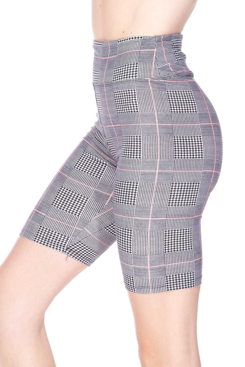 Left side view image of mid thigh length Buttery Soft Coral Accent Glenn Plaid Plus Size Biker Shorts - 3 Inch Waist Band
