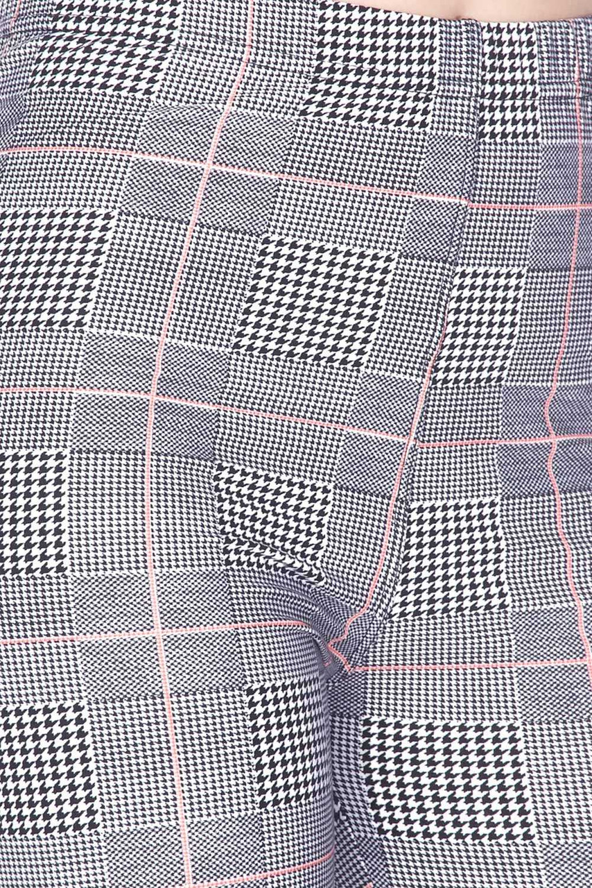 Close up image view of Buttery Soft Coral Accent Glenn Plaid Plus Size Biker Shorts - 3 Inch Waist Band