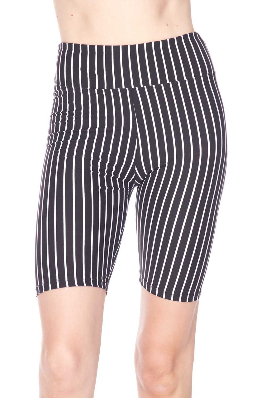 Front view image of  mid thigh length Buttery Soft Black Pinstripe  Biker Shorts featuring a neutral striped design that pairs with a top of any color.