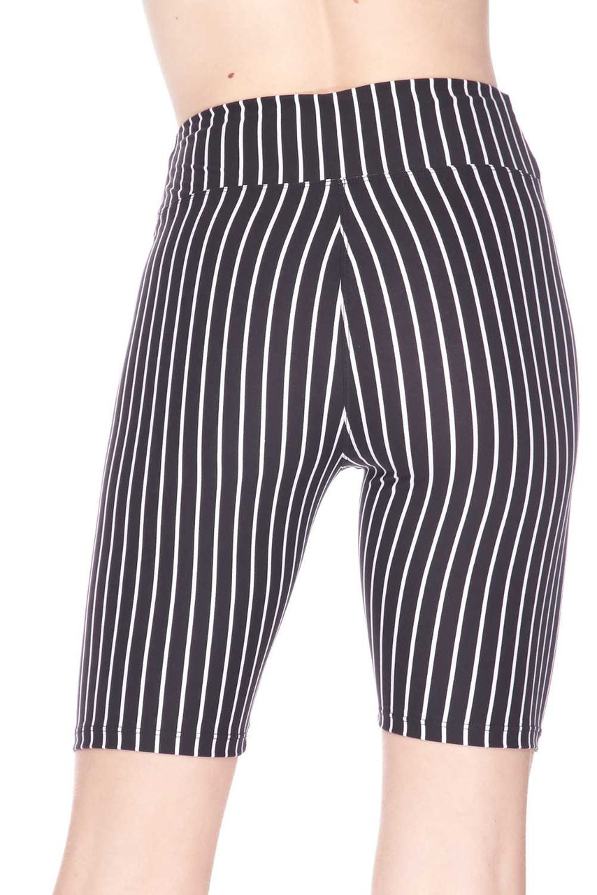 Back view image of Buttery Soft Black Pinstripe Biker Shorts