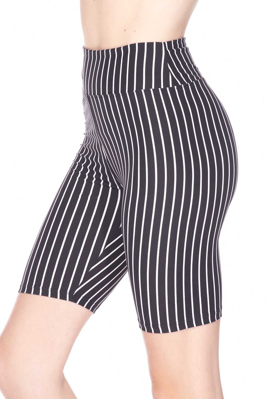 Left side view ofButtery Soft Black Pinstripe Biker Shorts   with a flattering figure hugging fit