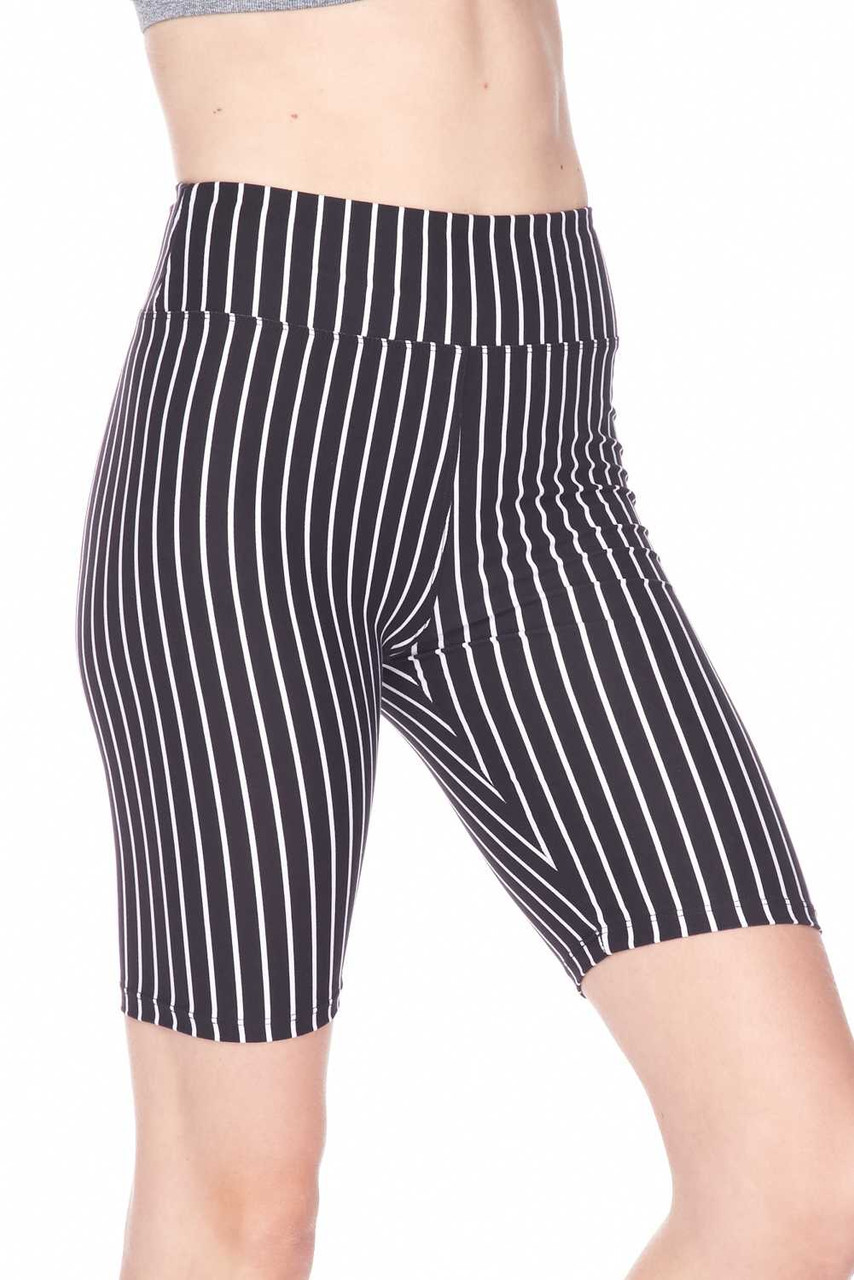 Right side view image of Buttery Soft Black Pinstripe Biker Shorts - 3 Inch Waist Band