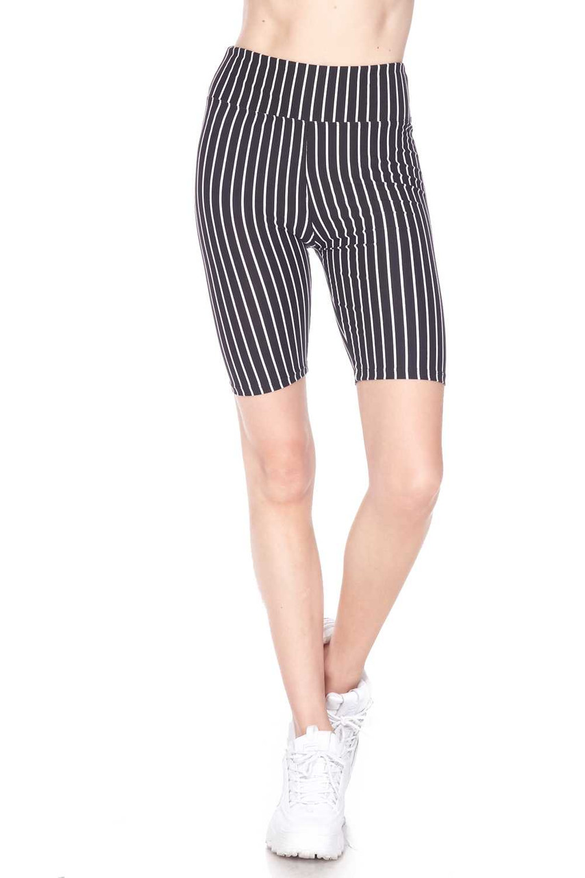 Half body image view of Buttery Soft Black Pinstripe Biker Shorts with a comfort fabric waist.