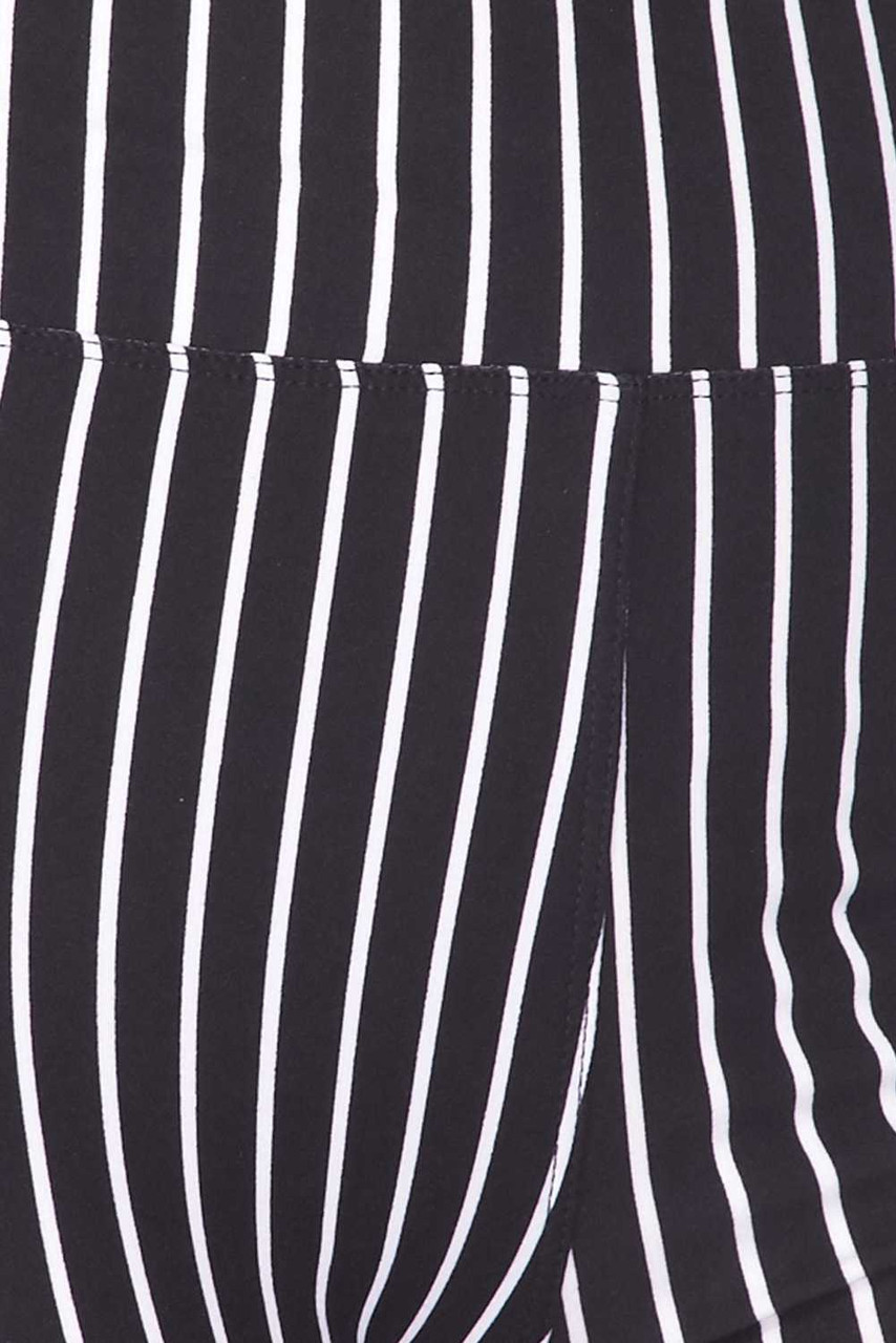 Close up swatch image of  Buttery Soft Black Pinstripe Biker Shorts - 3 Inch Waist Band