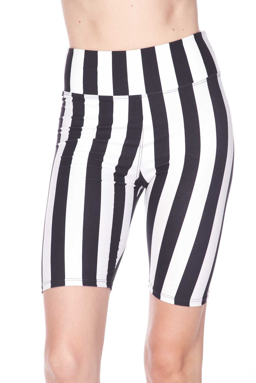 Front view image of Buttery Soft Vertical Wide Stripe Biker Shorts - 3 Inch Waist Band featuring a neutral striped design that pairs with a top of any color.