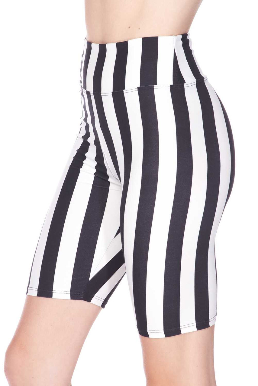 Left side view of Buttery Soft Vertical Wide Stripe Biker Shorts - 3 Inch Waist Band with a flattering figure hugging fit