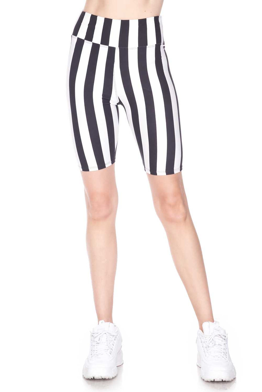 Half body image view of Buttery Soft Vertical Wide Stripe Biker Shorts with a comfort fabric waist.