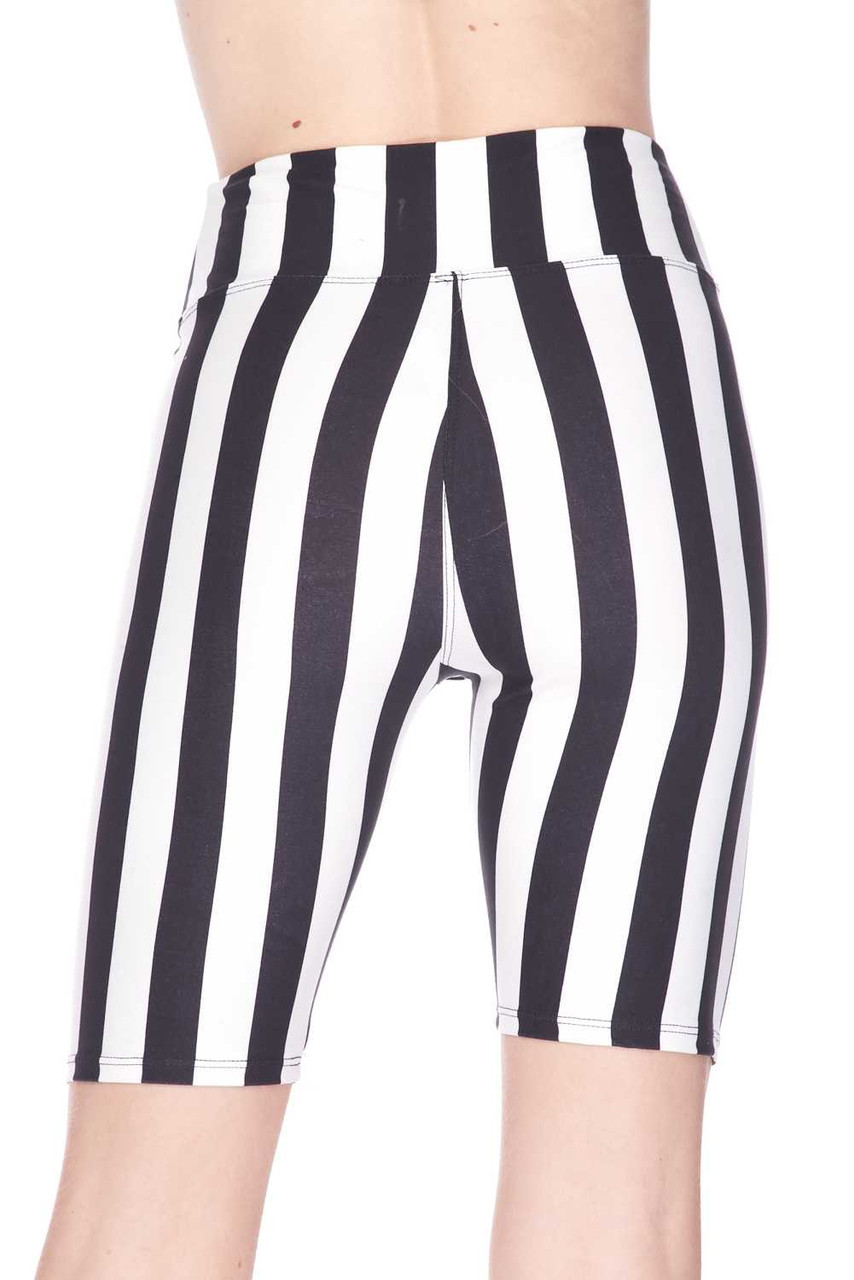 Back view image of Buttery Soft Vertical Wide Stripe Plus Size Biker Shorts - 3 Inch Waist Band