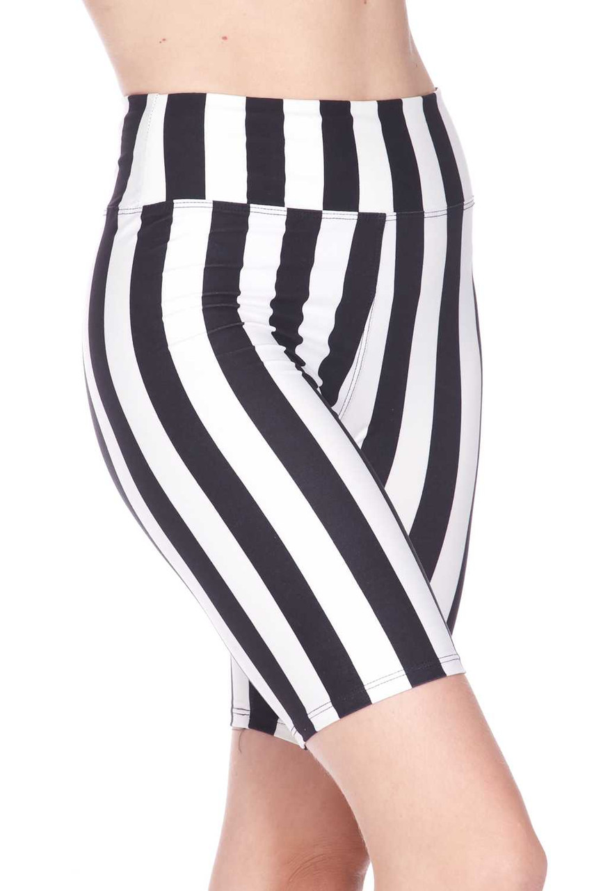 Right side view image of Buttery Soft Vertical Wide Stripe Plus Size Biker Shorts - 3 Inch Waist Band