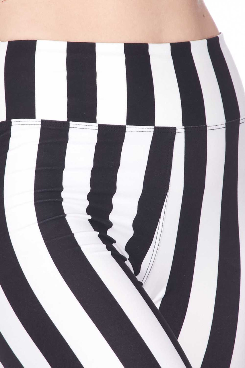 Close up of Buttery Soft Vertical Wide Stripe Plus Size Biker Shorts - 3 Inch Waist Band